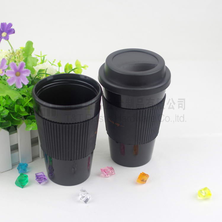 Black 350ml/10oz coffee cup with silicone ring, portable mug