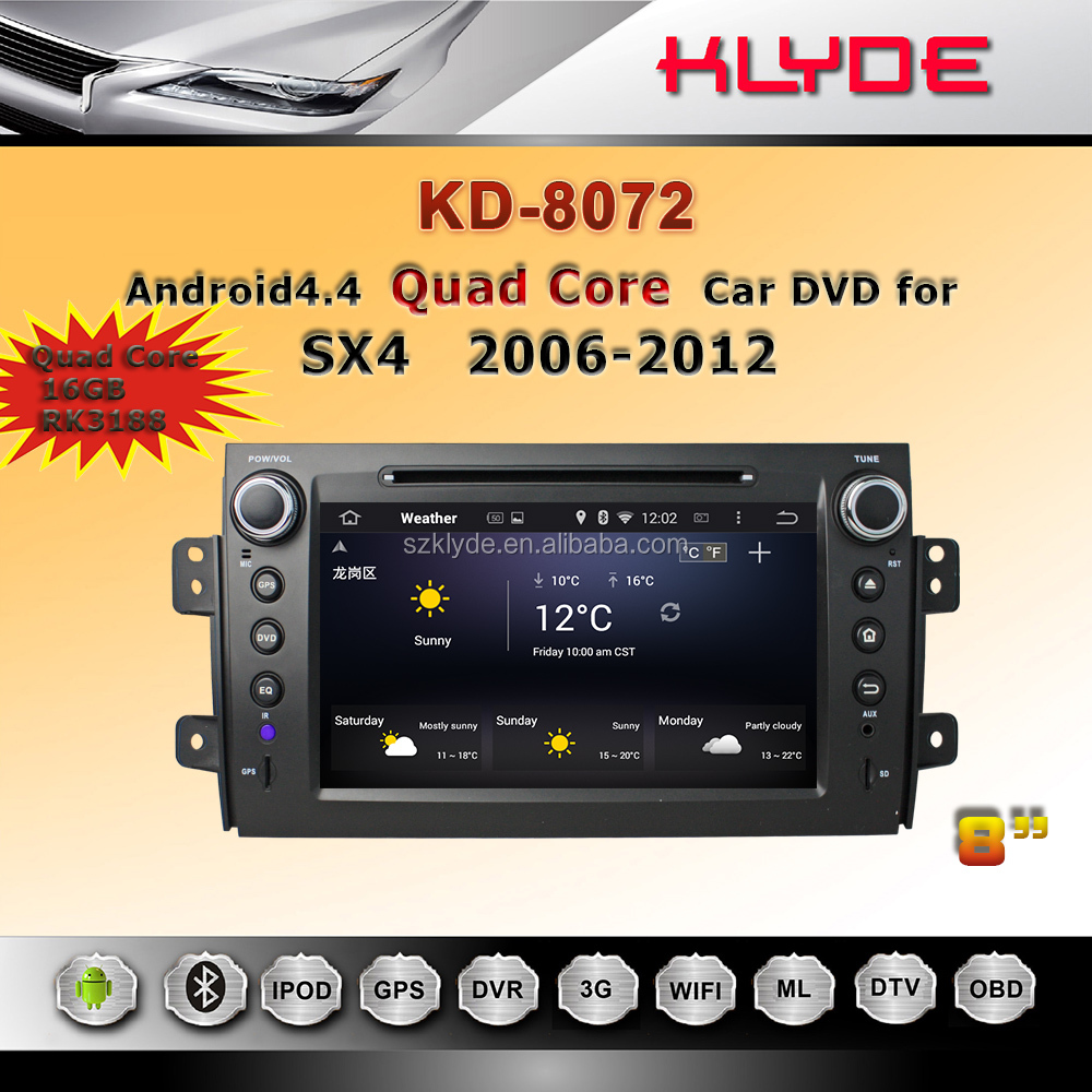 8 inch touch screen multimedia system for suzuki sx4 quad core car dvd