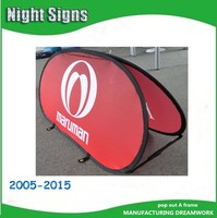 Advertising oval pop up A Frame banner