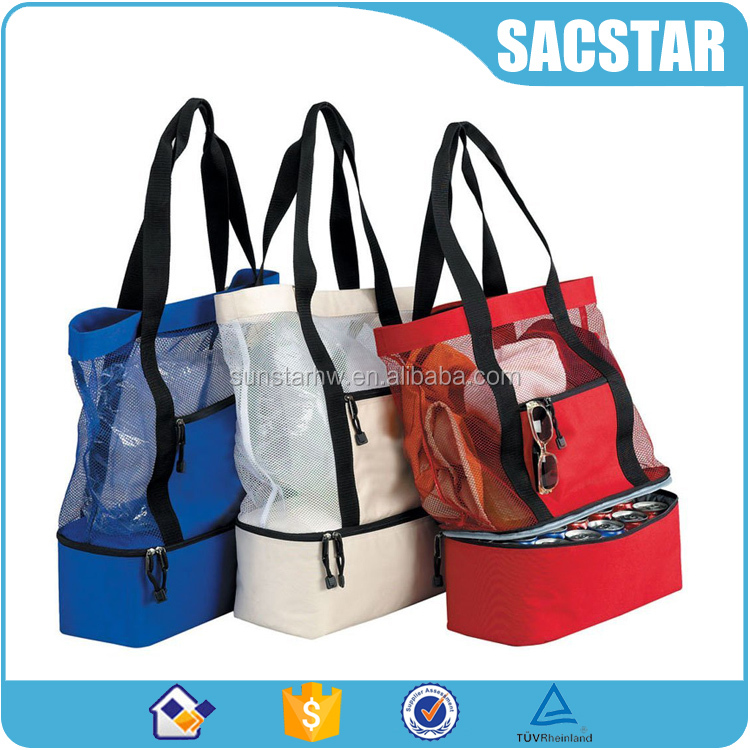 Clear PVC transparent beach bags with insulated compartment on bottom
