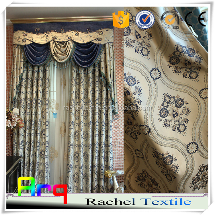 luxury curtain fabric villa using floral pattern design Arabic jacquard curtain style