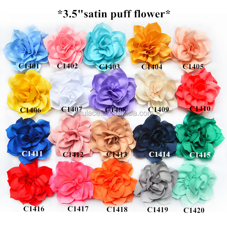 High Quality Satin Fabric Lotus Artificial Flower , Craft Hair Decorative Flowers