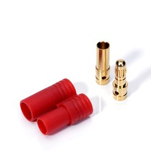 3 way HXT 3.5mm banana plug with red plastic housing