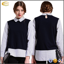 2016 OEM korean fashion design women 2 layers turn down collar long sleeves blouse Plus size Striped Pattern Patchwork blouse