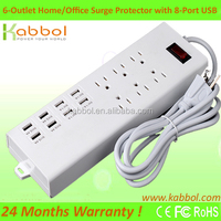 6-Outlet Surge Protector home/office/travel power socket with 8-USB Charging ports Power Strip and 6-Foot extension Cord 125V /