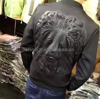 Personalized printing 3D stereoscopic lion head space cotton baseball jacket Slim