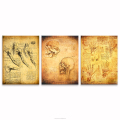 Manuscript of Leonardo da Vinci Canvas Prints for Study Room Living Room Class Room Decoration HD Photo Printing