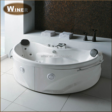 Antique style indoor small bathroom mobile free standing sitting 2 person jetted used bathtub with led light