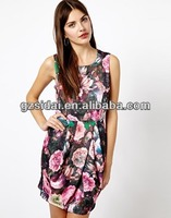 high quality elegant cotton print ladies dinner party sales promotion dress