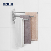 Anho Wall-Mounted Swivel 3-Arm Stainless-Steel Towel Bar Towel Shelf