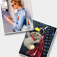 Fashion Lady Shoulder Bag Accessory Tassel pendant usb cable Keychain Leather charging cable for iPhone and Samsung smartphones
