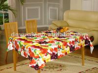 Plastic coated tablecloths with fruit printing