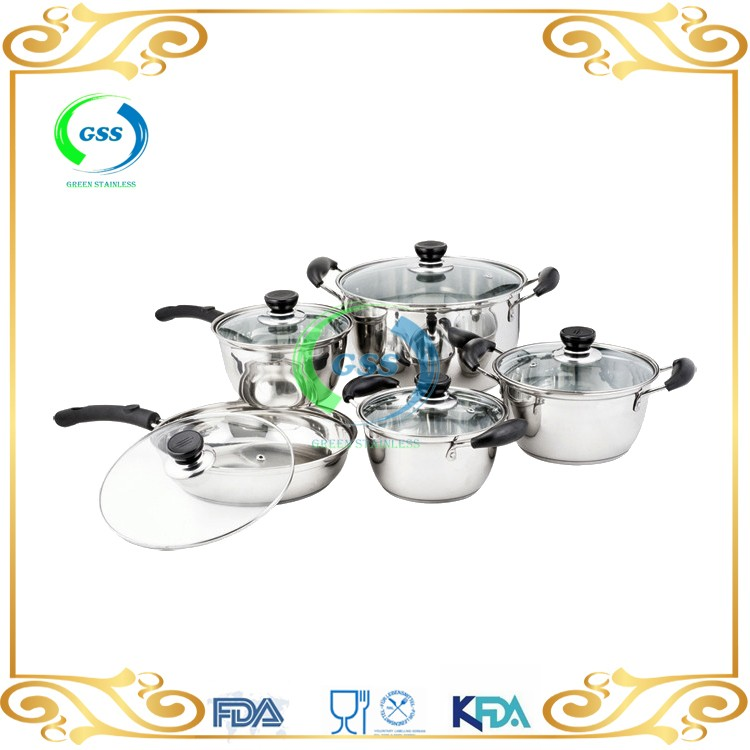 as seen on tv induction stainless steel cookware set with 10pcs