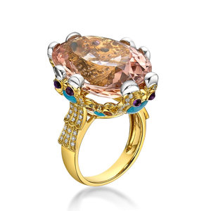 18K High End Fine Jewelry with Morganite, Amethyst,Turquoise & Diamond Latest Gold Ring Designs