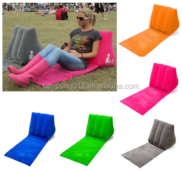 high quality inflatable wedge travel beach pillow with mat