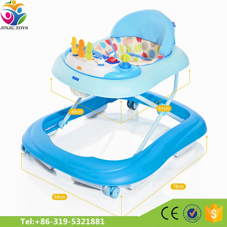 2017 High quality baby walker samll rubber wheels / best baby walker and bouncer / push along baby walker