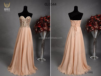 2015 New Arrival Beaded Sweetheart Elegant Chiffon Long Dress Peach Colored Prom Dresses