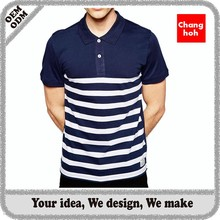 blue white stripe polo shirt for men