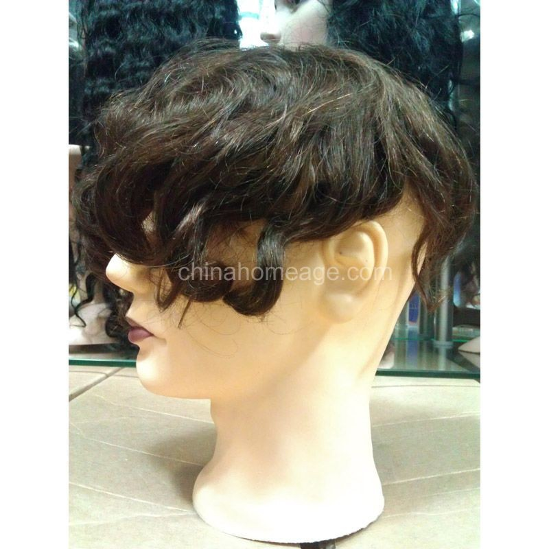 Homeage grey and short human raw hair wigs for black men