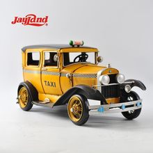 vintage metal yellow taxi car model for shop decoration