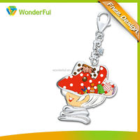 2014 Promotional Gifts Cheap Custom Zinc Alloy Plated And Enamel Cartoon Lovely Key Chain