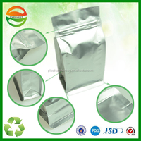 Custom printing silver coffee plastic bag with ziplock made in china