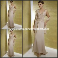MD237 Champagne Appliques Long Formal Mother Of The Bride Dress Made In China