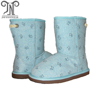 8030 - girls boots for winter in cloth upper with soft toy dog pattern