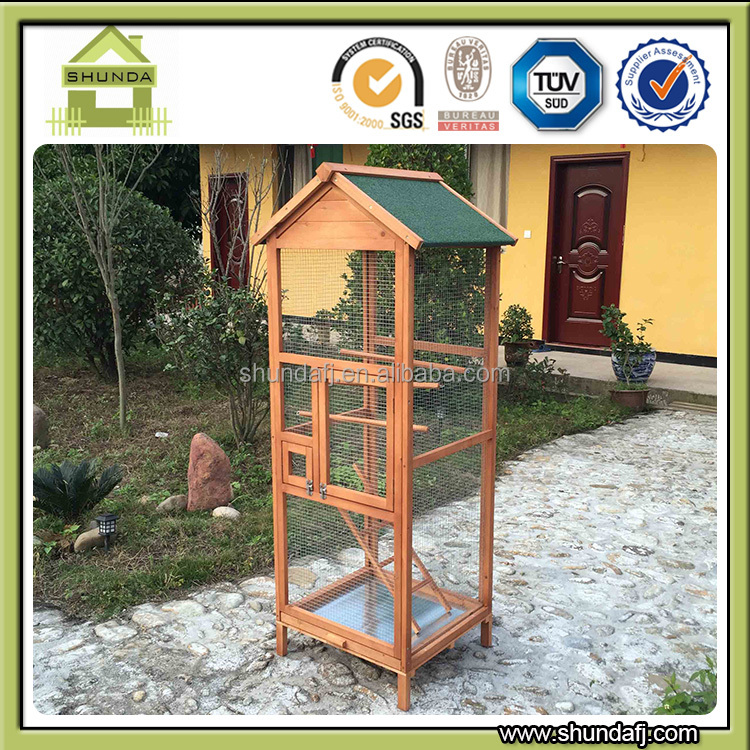 Shunda factory Quality Assured Wooden aviary cheap pet birds cage