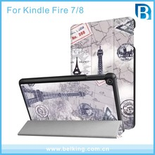 Tri-fold Eiffel Tower Kids Friendly PU Leather Case Cover for Amazon Kindle Fire HD 8 Tablet Case