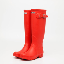 fashion style knee high red rubber wellington boots women rain boots