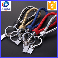 Hot Sale Colors Fashion Hand Woven Braided Leather Keychain Car Key Chain Keyring Leather Keychain
