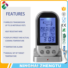 Hot selling wireless digital meat thermometer with 2 probe and battery