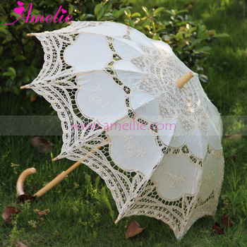 Wedding Stage Decoration Wholesale Wedding Umbrella Battenburg Lace Parasol & Fan