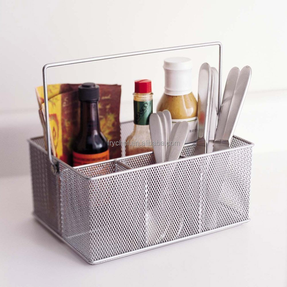 Metal Flatware Caddy Basket Kitchen Countertop Cutlery Caddy Storage Basket Bathroom Cabinet Mesh Caddy Organizer
