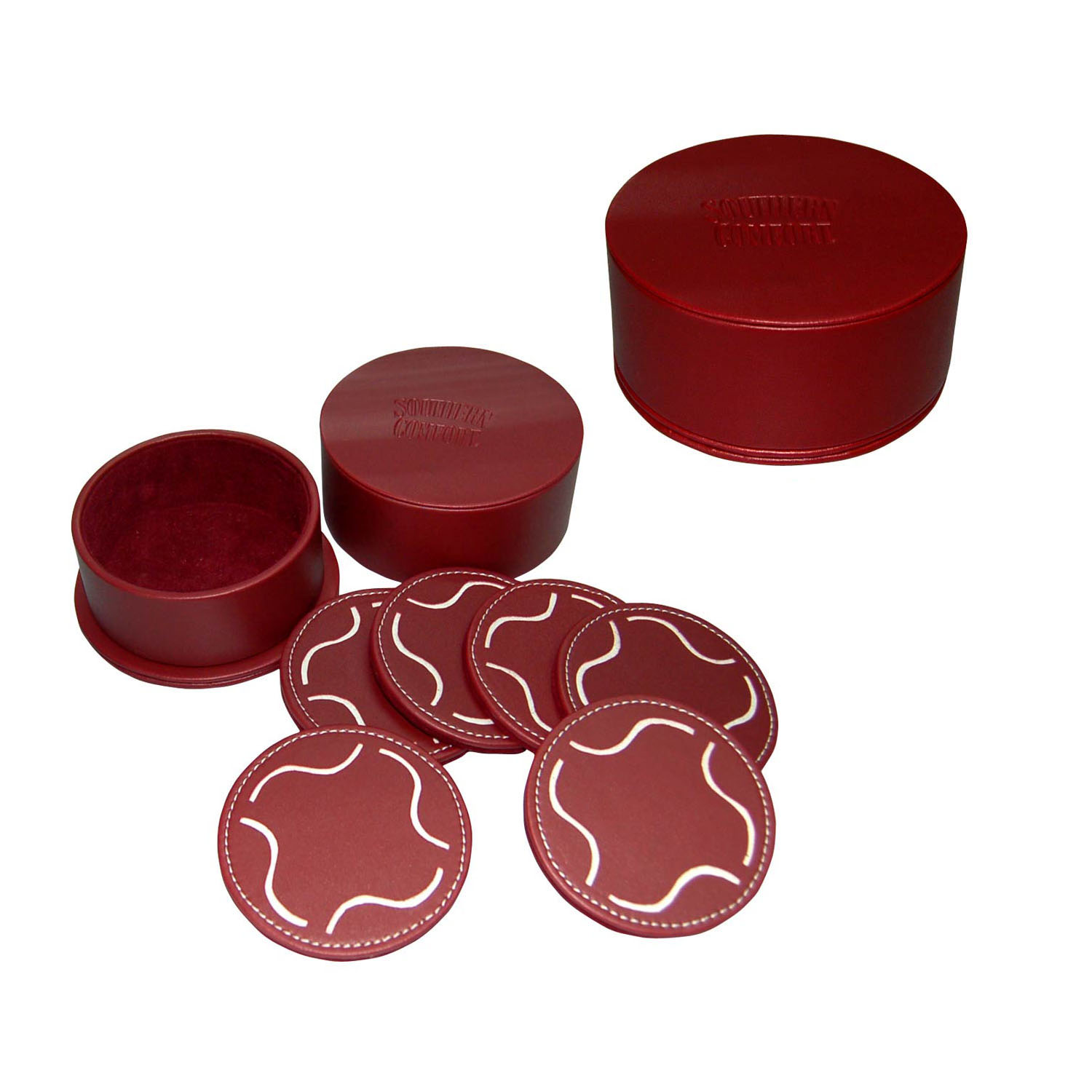 Special lichee Pattern leather cup coaster set for sale