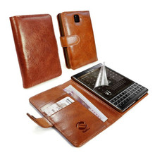 Leather flip wallet vintage brown leather case for blackberry passport
