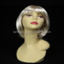 Cheap bob synthetic wig silver white people cosplay wigs for white women N113
