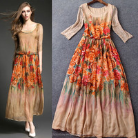 New arrival orange digital print flowers see through thai silk evening dress for women