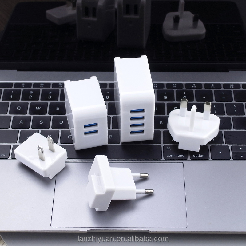 Mobile phone accessories charger manufacturer, Multi Plugs 4 USB Ports Wall Charger for phone tablet pc