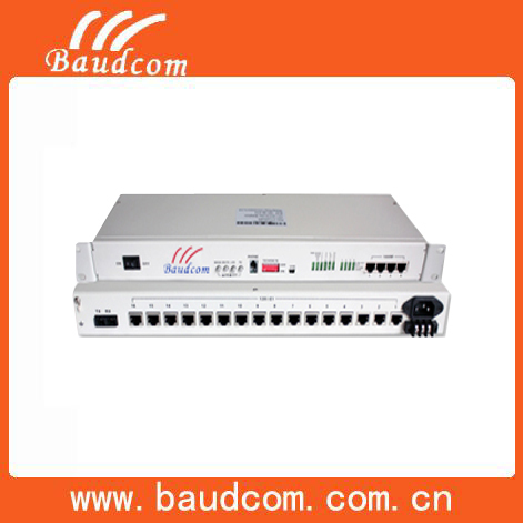 Baudcom120KM 4 Ethernet 16E1 PDH fiber optic multiplexer
