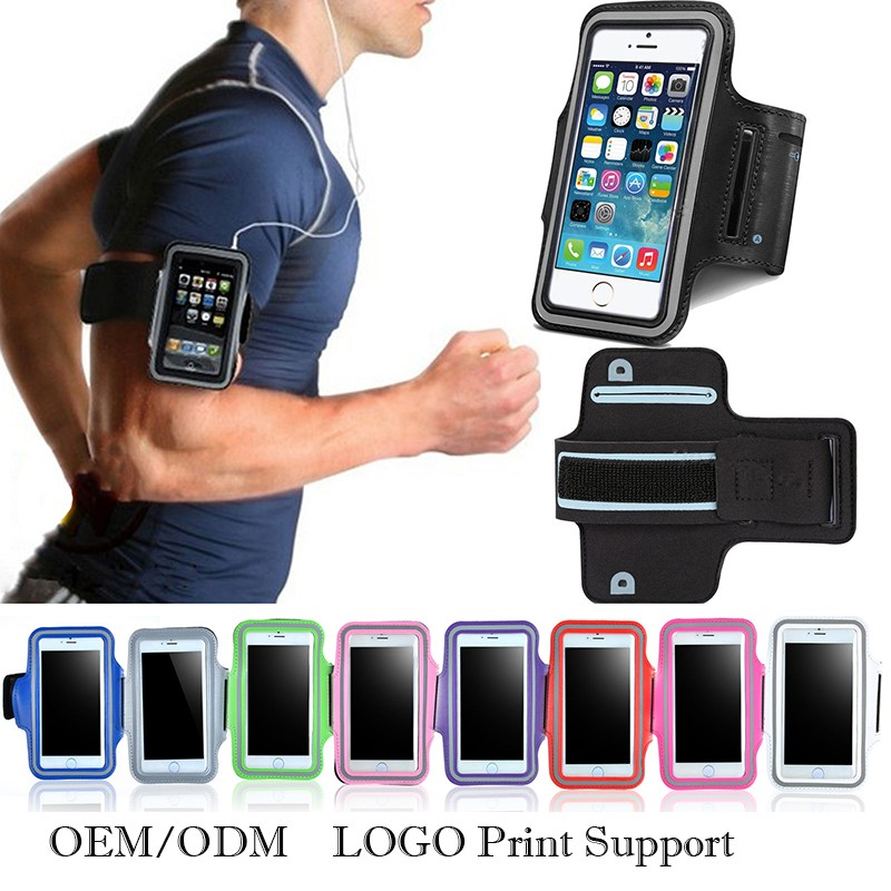 "LOGO print OEM support cell phone sport armband 5.1"" 5.8"" universal mobile phone arm band for running for iphone"