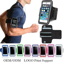 LOGO print OEM support cell phone sport armband universal mobile Reflective arm band for running for iphone phone bag for S8