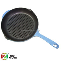 "kitchen cookware 11"" enamel cast iron griddle grill fry pan with cast long handles"