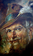 2015 New Design Hand Painted Old Man Oil Painting On Canvas High Quality Oil Man Portrait Oil Painting Customized
