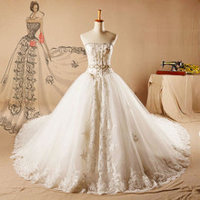 AH126 gold embroider beaded bow train long tail ball gown wedding dress wedding gowns wholesale price long trail wedding dress
