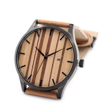 MOQ 1pcs vintage zebra wood japan movt quartz watch watch