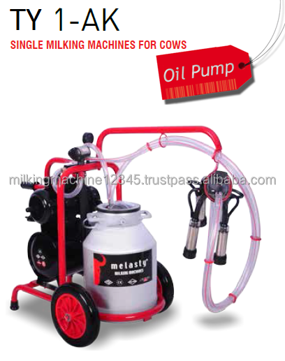 Milking Machine - Single Milking - electrical - oil pump, aluminum bucket and rubber liners
