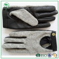 Classical wool gloves with leather palm for men and women Driving leather palm wool gloves for Bike ,motorcycle