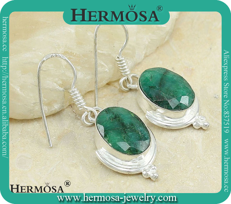 925 Sterling Silver Genuien Green Real Emrald Girl Dangling Earring Y783